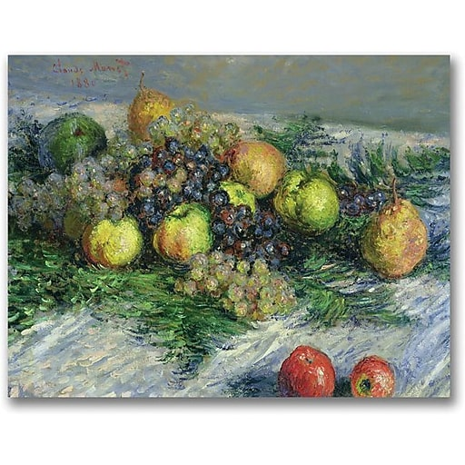 "Trademark Global Claude Monet ""Still Life with Pears and Grapes"" Canvas Art, 24"" x 32"""