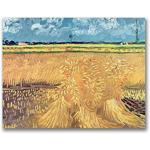 "Trademark Global Vincent Van Gogh ""Wheatfield with Sheaves 1888"" Canvas Art, 16"" x 24"""
