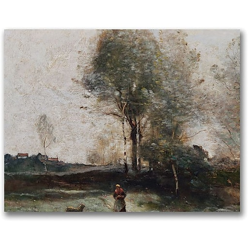 "Trademark Global Jean Baptiste Corot ""Morning in the Field"" Canvas Art, 24"" x 32"""