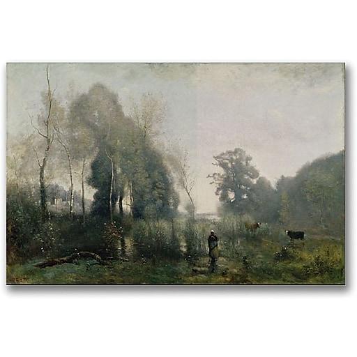 "Trademark Global Jean Baptiste Corot ""Morning at Ville d Avray"" Canvas Art, 30"" x 47"""
