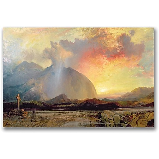 "Trademark Global Thomas Moran ""Sunset Vespars at the Rugged Cross"" Canvas Art, 16"" x 24"""
