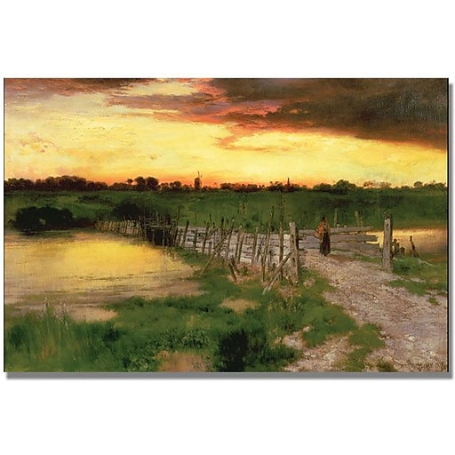 "Trademark Global Thomas Moran ""The Old Bridge over Hook Pond"" Canvas Art, 30"" x 47"""