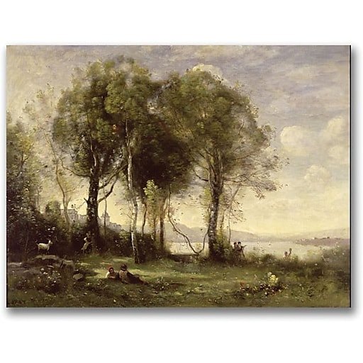 """Trademark Global Jean Baptiste Corot """"The Goatherds of the Castle"""" Canvas Art, 24"""" x 32"""""""