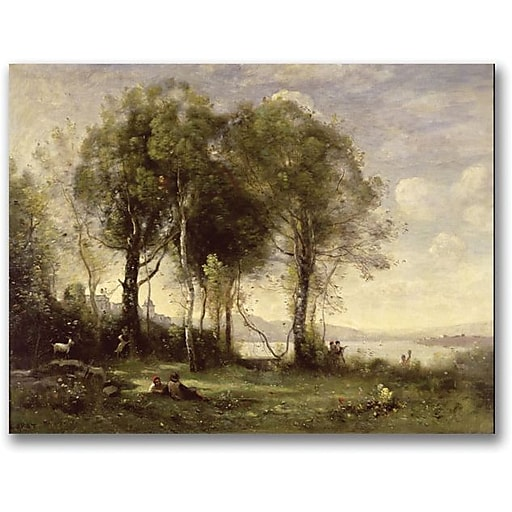 """Trademark Global Jean Baptiste Corot """"The Goatherds of the Castle"""" Canvas Art, 35"""" x 47"""""""