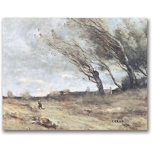 "Trademark Global Jean Baptiste Corot ""The Gust of Wind"" Canvas Art, 18"" x 24"""