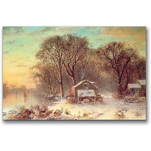 "Trademark Global Thomas Doughty ""Winter in Malden Massachusetts"" Canvas Art, 16"" x 24"""