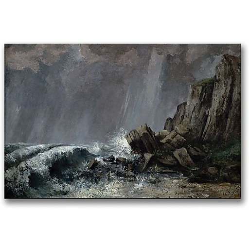 """Trademark Global Gustave Courbet """"Downpour at Etretat"""" Canvas Art, 30"""" x 47"""""""