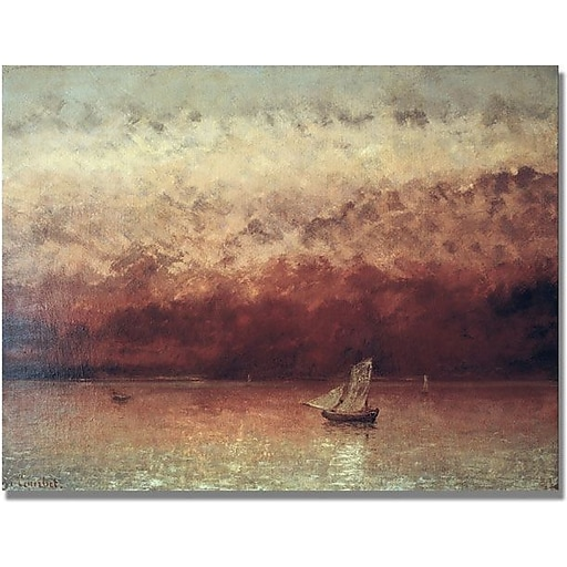 """Trademark Global Gustave Courbet """"Lake Leman with Setting Sun"""" Canvas Art, 35"""" x 47"""""""