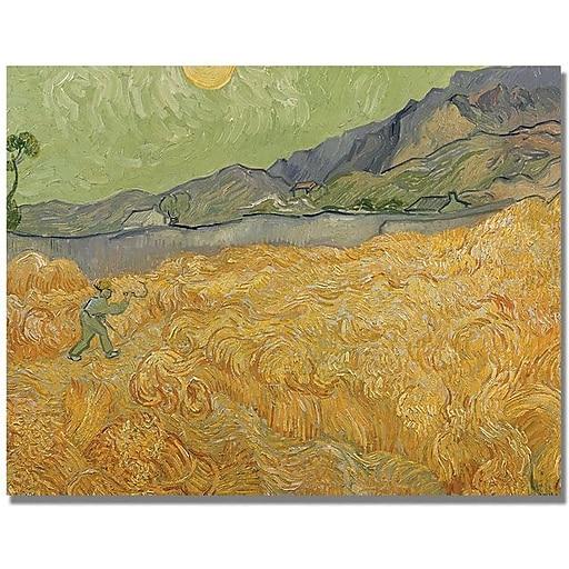 "Trademark Global Vincent Van Gogh ""Wheatfields with Reaper"" Canvas Art, 24"" x 32"""