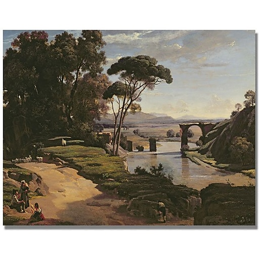 "Trademark Global Jean Baptiste Corot ""The Bridge at Narni"" Canvas Art, 35"" x 47"""