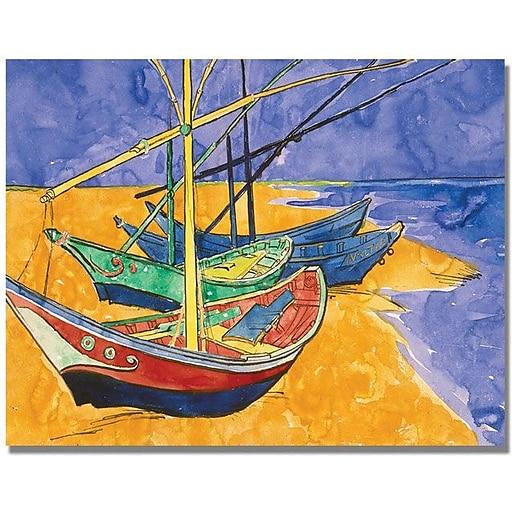 "Trademark Global Vincent Van Gogh ""Fishing Boats on the Beach"" Canvas Art, 24"" x 32"""