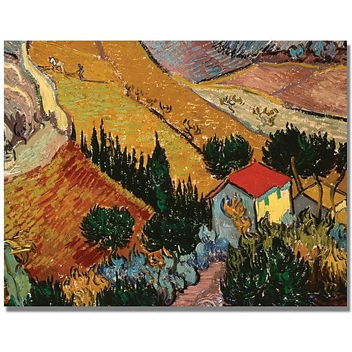 "Trademark Global Vincent Van Gogh ""Landscape with House"" Canvas Art, 24"" x 32"""