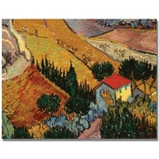 "Trademark Global Vincent Van Gogh ""Landscape with House"" Canvas Art, 35"" x 47"""