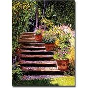 "Trademark Global David Glover ""Pink Daisies Wooden Steps"" Canvas Art, 32"" x 24"""