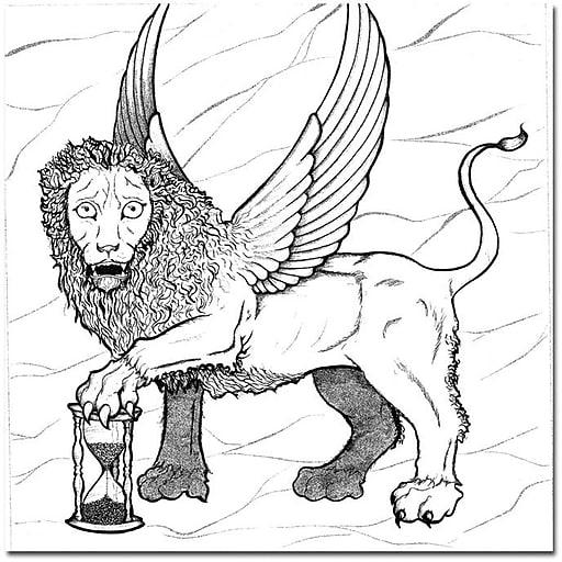 "Trademark Global Joe Dragunas ""Winged Lion"" Canvas Art, 24"" x 24"""