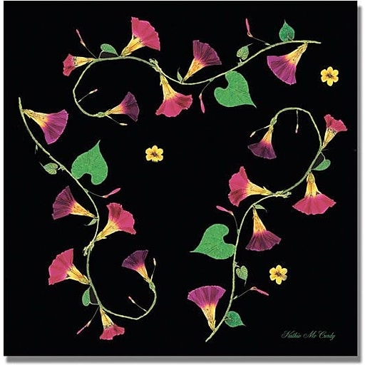 """Trademark Global Kathie McCurdy """"Pressed Flowers Morning Glories"""" Canvas Art, 18"""" x 18"""""""