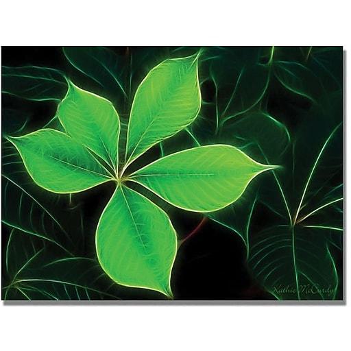 "Trademark Global Kathie McCurdy ""Big Green Leaf"" Canvas Art, 18"" x 24"""