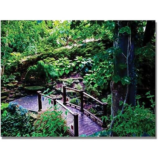 "Trademark Global Kathie McCurdy ""Bridge in the Garden of Light"" Canvas Art, 18"" x 24"""