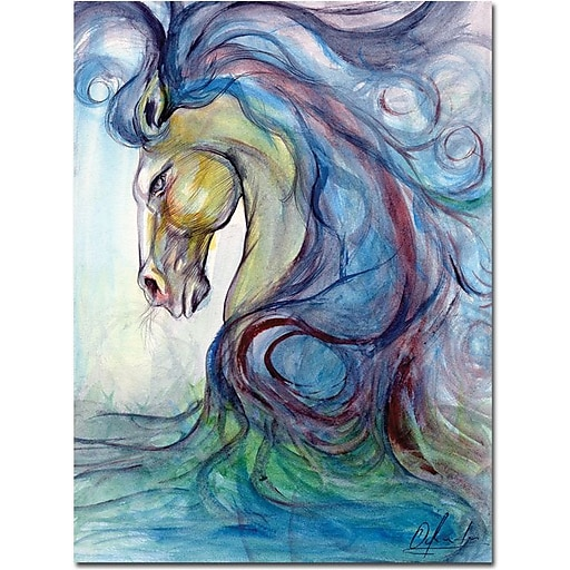 "Trademark Global Osay ""Caballo Azul"" Canvas Art, 47"" x 35"""