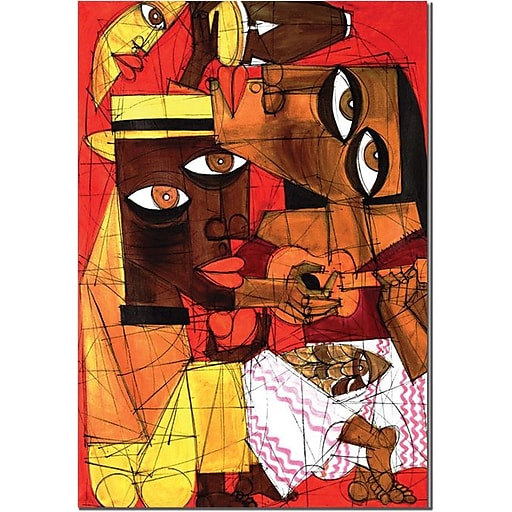"""Trademark Global """"Jammin in Red"""" Canvas Art, 24"""" x 18"""""""