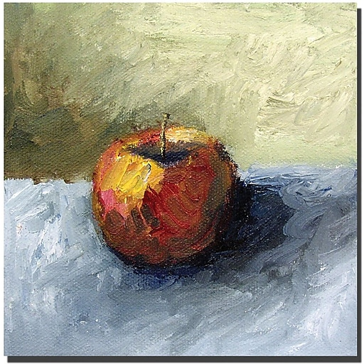 "Trademark Global Michelle Calkins ""Apple Still Life with Grey and Olive"" Canvas Art, 24"" x 24"""