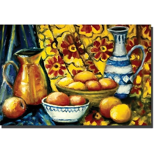 "Trademark Global Michelle Calkins ""Still Life with Oranges"" Canvas Art, 14"" x 19"""