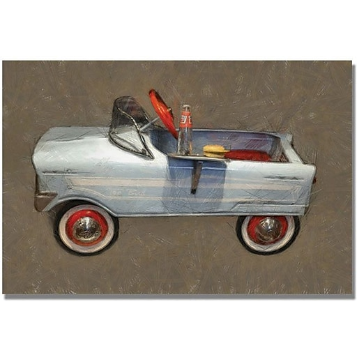 "Trademark Global Michelle Calkins ""Tee Bird Pedal Car"" Canvas Art, 35"" x 47"""