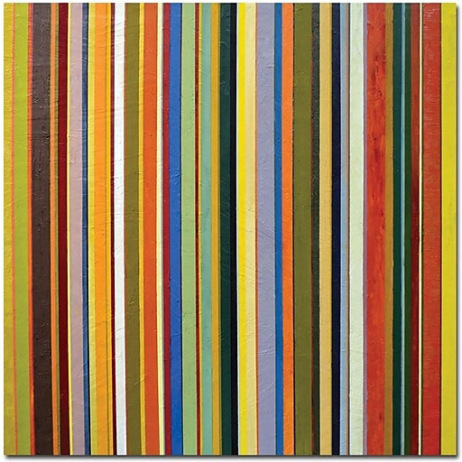 "Trademark Global Michelle Calkins ""Comfortable Stripes"" Canvas Art, 18"" x 18"""
