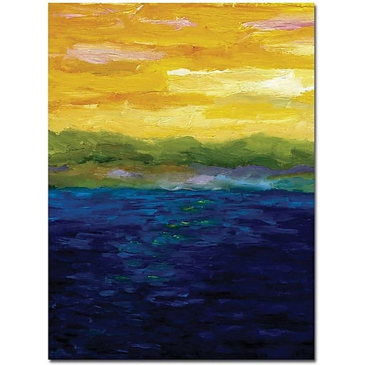 "Trademark Global Michelle Calkins ""Gold and Pink Sunset"" Canvas Art, Modern Style, 47"" x 35"" (MC062-C3547GG)"