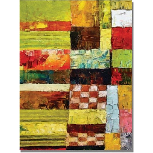 """Trademark Global Michelle Calkins """"Checkers and Stripes"""" Canvas Art, 24"""" x 18"""""""