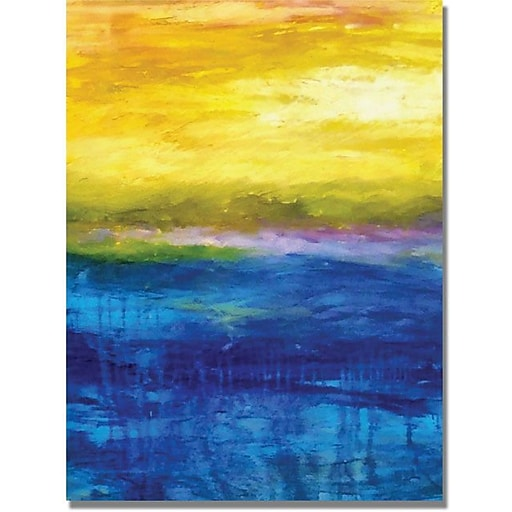 """Trademark Global Michelle Calkins """"Gold and Pink Sunset"""" Canvas Art, Contemporary Style, 47"""" x 35"""""""