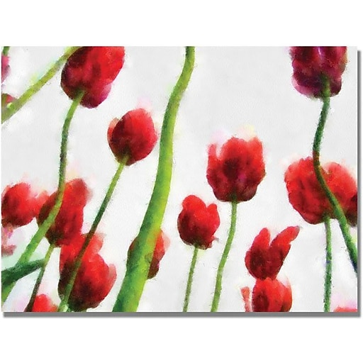 """Trademark Global Michelle Calkins """"Red Tulips from Bottom Up III"""" Canvas Art, 18"""" x 24"""""""