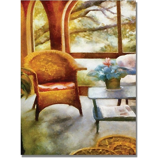 "Trademark Global Michelle Calkins ""Wicker Chair and Cyclmen"" Canvas Art, 24"" x 18"""