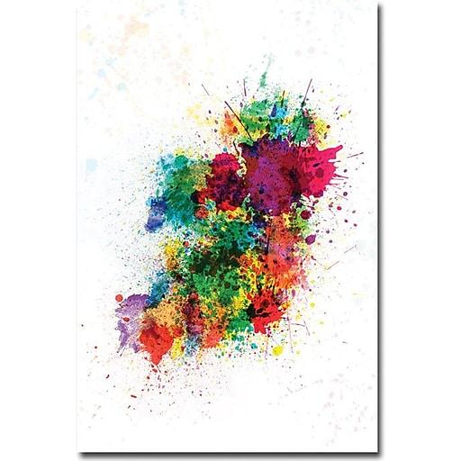 "Trademark Global Michael Tompsett ""Ireland Paint Splashes"" Canvas Art, 24"" x 16"""
