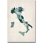 "Trademark Global Michael Tompsett ""Italy Watercolor Map"" Canvas Art, 47"" x 30"""