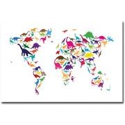 "Trademark Global Michael Tompsett ""Dinosaur World Map"" Canvas Art, 16"" x 24"""