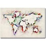 "Trademark Global Michael Tompsett ""World Map Paint Splashes"" Canvas Art, 30"" x 47"""