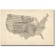 """Trademark Global Michael Tompsett """"USA Old Sheet Music Map"""" Canvas Art, 16"""" x 24"""""""