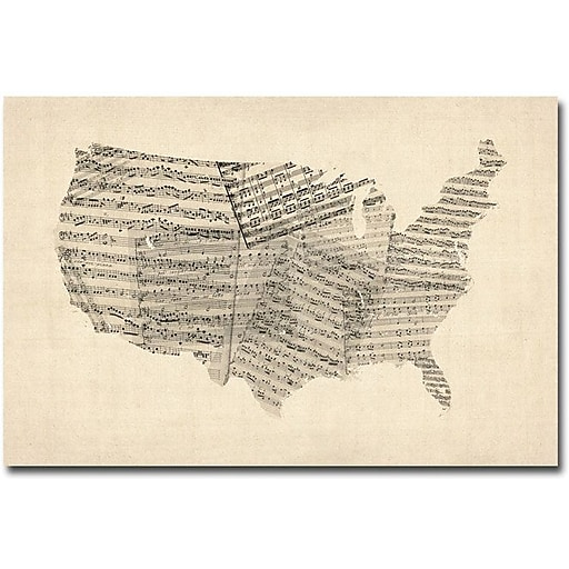 "Trademark Global Michael Tompsett ""USA Old Sheet Music Map"" Canvas Art, 16"" x 24"""