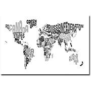 """Trademark Global Michael Tompsett """"World Text Map"""" Canvas Art, 16"""" X   24"""""""