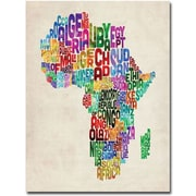 "Trademark Global Michael Tompsett ""Africa Text Map"" Canvas Art, 47"" x 35"""