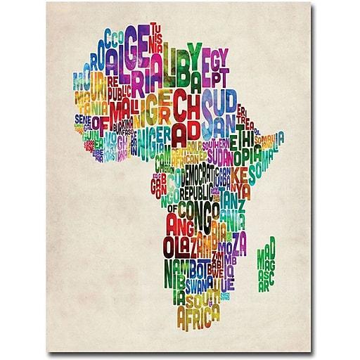 """Trademark Global Michael Tompsett """"Africa Text Map"""" Canvas Art, 47"""" x 35"""""""