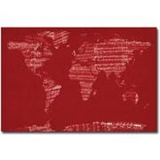 """Trademark Global Michael Tompsett """"Sheet Music World Map"""" Canvas Art, 16"""" x 24"""""""