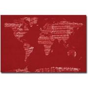 """Trademark Global Michael Tompsett """"Sheet Music World Map"""" Canvas Art, 30"""" x 47"""""""