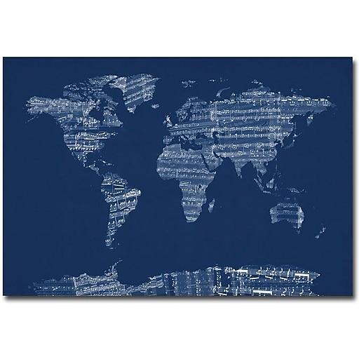 """Trademark Global Michael Tompsett """"Sheet Music World Map in Blue"""" Canvas Art, 16"""" x 24"""""""