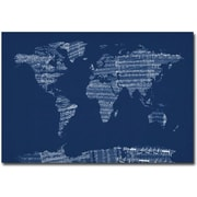 "Trademark Global Michael Tompsett ""Sheet Music World Map in Blue"" Canvas Art, 30"" x 47"""