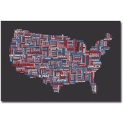 "Trademark Global Michael Tompsett ""US Cities Text Map"" Canvas Art, 30"" x 47"""