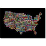 "Trademark Global Michael Tompsett ""US Cities Text Map II"" Canvas Arts"