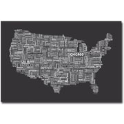 "Trademark Global Michael Tompsett ""US Cities Text Map III"" Canvas Arts"