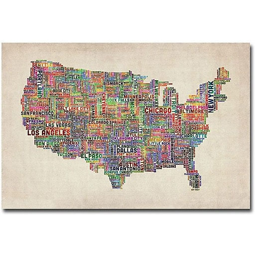 "Trademark Global Michael Tompsett ""US Cities Text Map VI"" Canvas Art, 16"" x 24"""